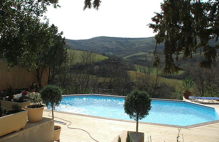Swimming pool at house for rent in Languedoc region of France.